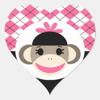 Cute Baby Girl Sock Monkey Pink Black Argyle Heart Sticker