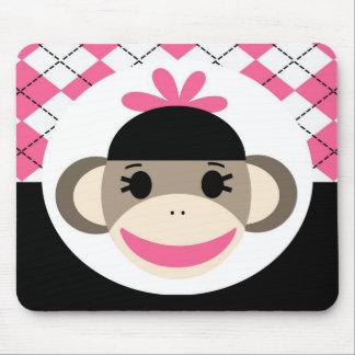 Cute Baby Girl Sock Monkey Pink Black Argyle Mouse Mat