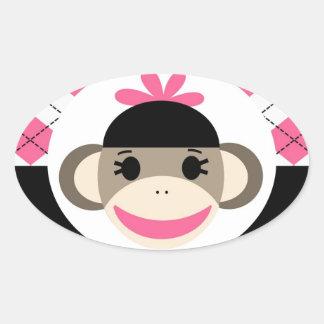 Cute Baby Girl Sock Monkey Pink Black Argyle Oval Sticker
