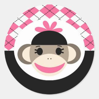 Cute Baby Girl Sock Monkey Pink Black Argyle Round Sticker