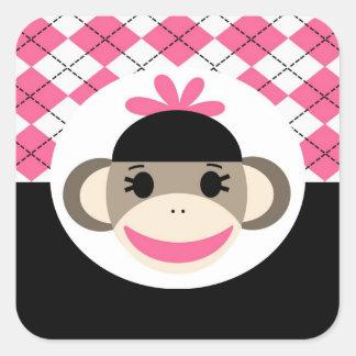 Cute Baby Girl Sock Monkey Pink Black Argyle Square Sticker