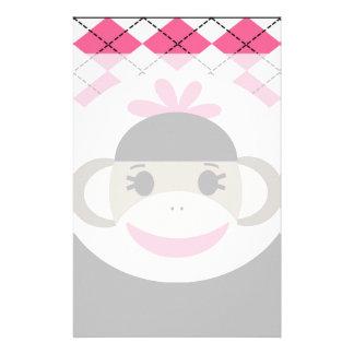 Cute Baby Girl Sock Monkey Pink Black Argyle Stationery