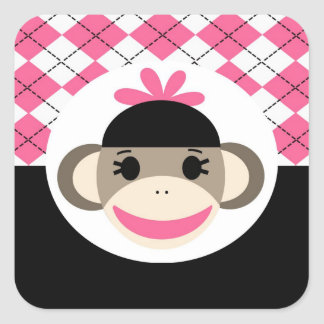 Cute Baby Girl Sock Monkey Pink Black Argyle Square Sticker