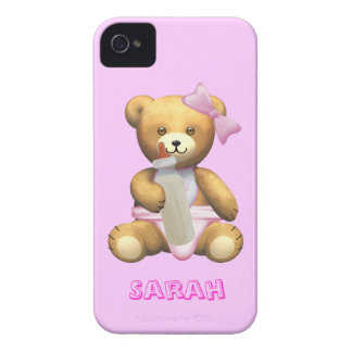 Cute Baby Girl Teddy Bear - Change name - Sarah iPhone 4 Case