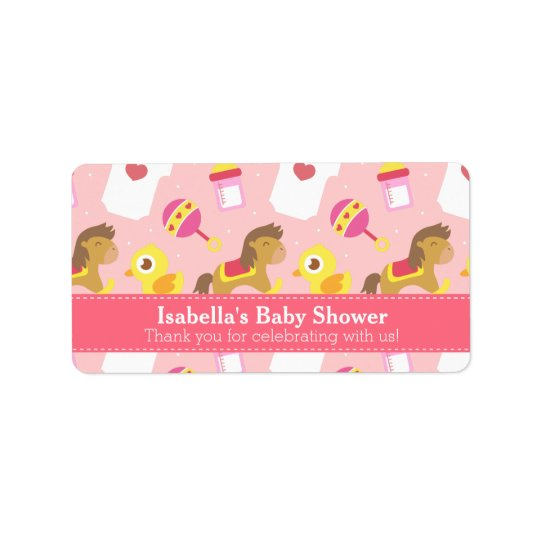 Cute Baby Girl Toys, Baby Shower Party Favour Label