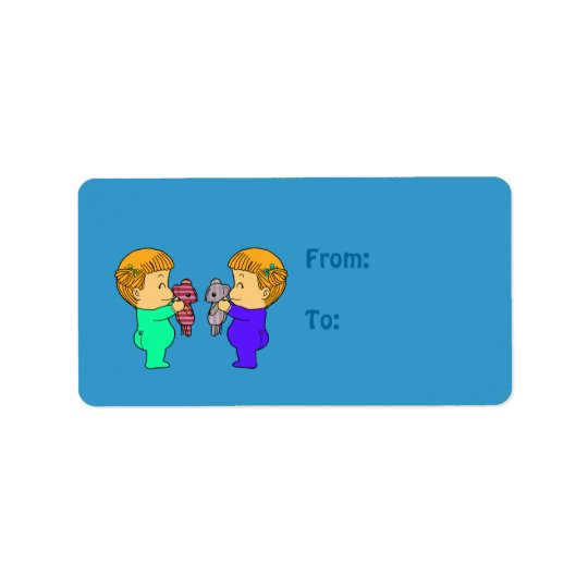 Cute baby Girl twins Address Label