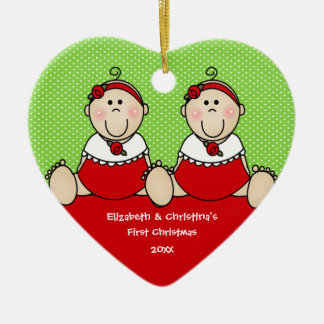 Cute Baby Girls Twin's First Christmas Ornament