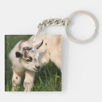 Cute Baby Goat Double-Sided Square Acrylic Key Ring