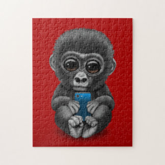 Cute Baby Gorilla Holding a Cell Phone Red Jigsaw Puzzle