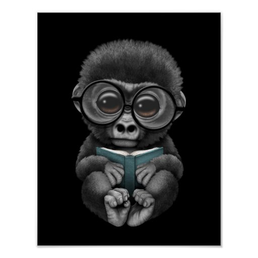 Cute Baby Gorilla Reading a Book on Black