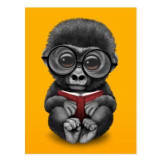 Cute Baby Gorilla Reading a Book on Yellow Postcard