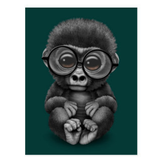 Cute Baby Gorilla Wearing Eye Glasses on Teal Blue Postcard