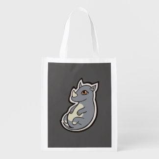 Cute Baby Gray Rhino Big Eyes Ink Drawing Design