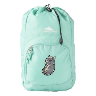 Cute Baby Gray Rhino Big Eyes Ink Drawing Design Backpack