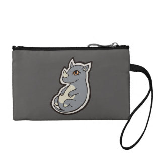 Cute Baby Gray Rhino Big Eyes Ink Drawing Design Coin Wallet