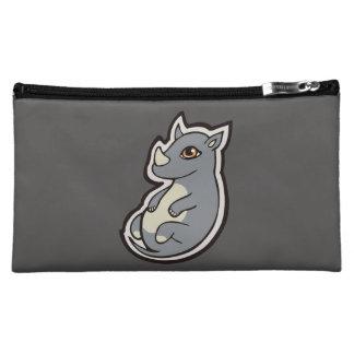 Cute Baby Gray Rhino Big Eyes Ink Drawing Design Cosmetics Bags