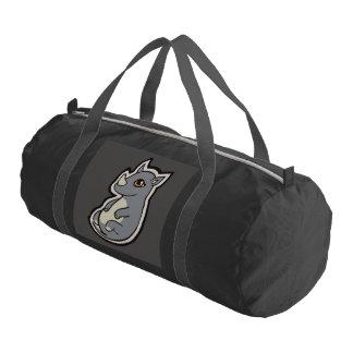 Cute Baby Gray Rhino Big Eyes Ink Drawing Design Gym Duffel Bag