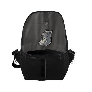 Cute Baby Gray Rhino Big Eyes Ink Drawing Design Messenger Bag