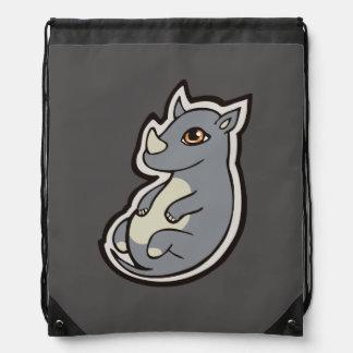Cute Baby Gray Rhino Big Eyes Ink Drawing Design Rucksack