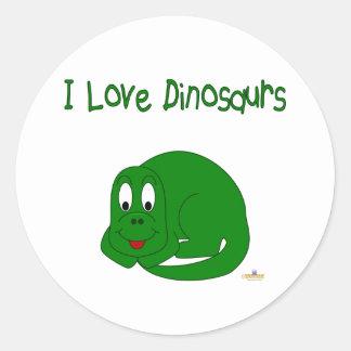 Cute Baby Green Dinosaur I Love Dinosaurs Round Sticker
