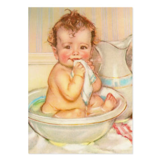 Cute Baby Having a Bath Pack Of Chubby Business Cards