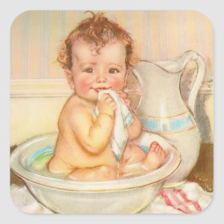 Cute Baby Having a Bath Square Sticker