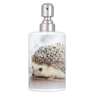 Cute Baby Hedgehog Soap Dispenser And Toothbrush Holder