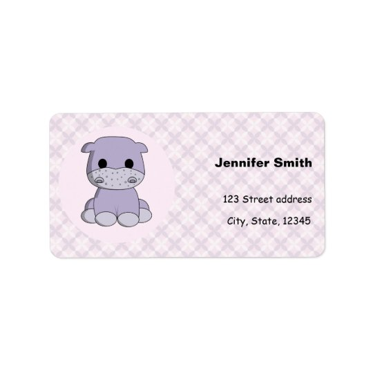 Cute baby hippo cartoon address labels