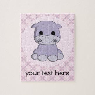 Cute baby hippo cartoon custom kids puzzle