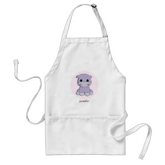 Cute baby hippo cartoon name apron