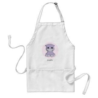 Cute baby hippo cartoon name apron