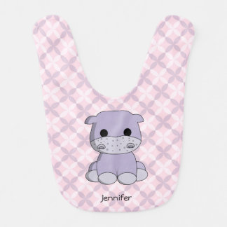 Cute baby hippo cartoon name baby bib