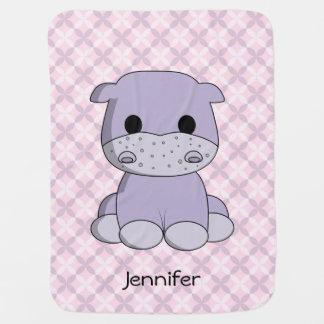 Cute baby hippo cartoon name baby blanket