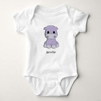 Cute baby hippo cartoon name baby shirt