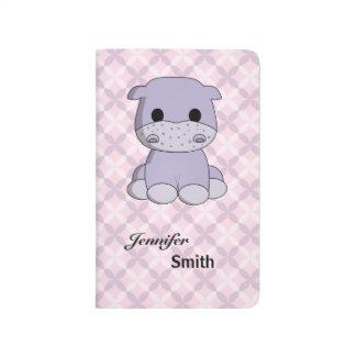 Cute baby hippo cartoon name girls pocket journal