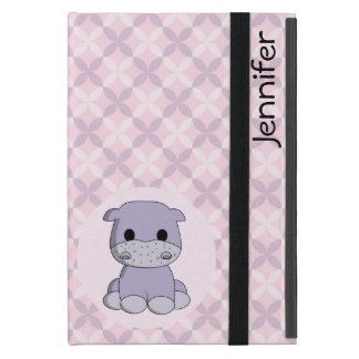 Cute baby hippo cartoon name kids ipad case