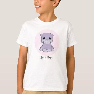 Cute baby hippo cartoon name kid's shirt