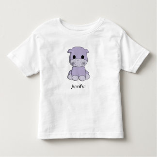 Cute baby hippo cartoon name toddler's shirt