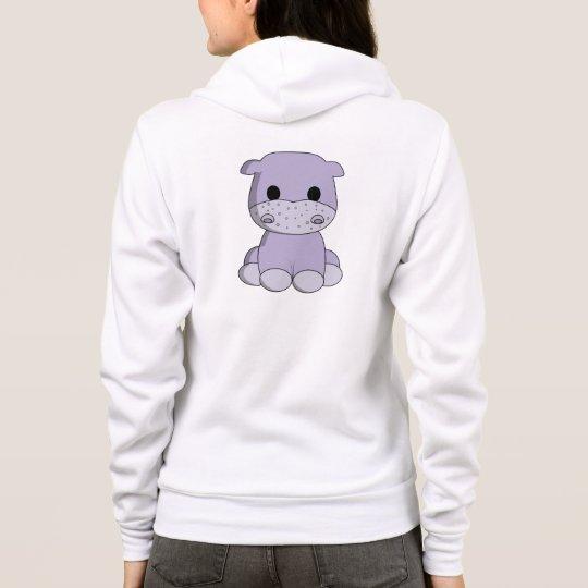 Cute baby hippo cartoon name woman's hoodie