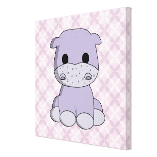 Cute baby hippo cartoon nursery canvas stretched canvas prints