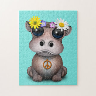 Cute Baby Hippo Hippie Jigsaw Puzzle