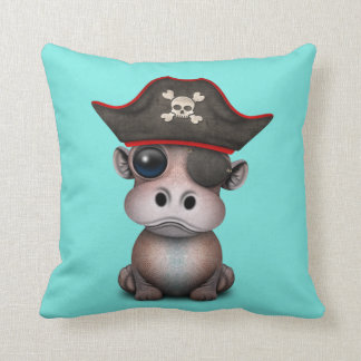 Cute Baby Hippo Pirate Cushion