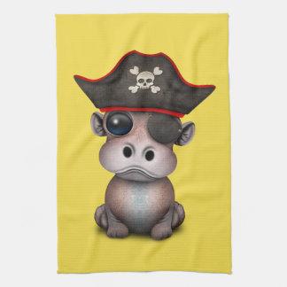 Cute Baby Hippo Pirate Tea Towel