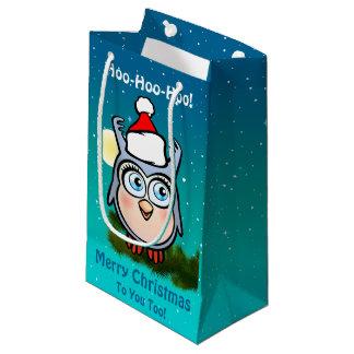 Cute Baby Hoot With Santa Hat Small Gift Bag