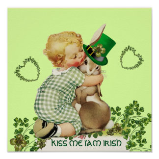 CUTE BABY HUGGING RABBIT  Irish St.Patrick's Day Poster