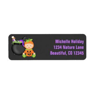 Cute Baby in Pumpkin Costume Halloween Address Return Address Label