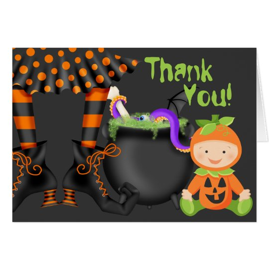 Cute Baby in Pumpkin Costume Halloween Thank You Card