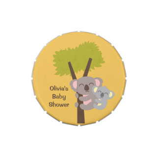 Cute Baby Koala Bear and Mommy Baby Shower Jelly Belly Candy Tins