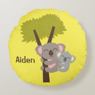 Cute Baby Koala Bear and Mommy Kids Room Decor Round Cushion