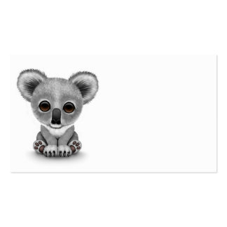 Cute Baby Koala Bear Cub on White Pack Of Standard Business Cards